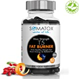 SOMATOX T5 FAT BURNER ★ Limited Black Edition ★ Natural Weight Loss • Burn Fat • Slimming Diet Pills • Boost Energy • Thermogenic Supplement ★ Max Strength 1300mg / 90 Veg Caps 30 Day Supply ★ Made UK