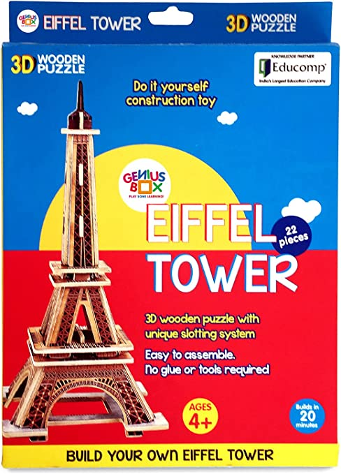 Genius Box - Play Some Learning Eiffel Tower 3D Wooden Cube Puzzle Educational Activity Kit | Educational Toy | DIY | Engaging | STEM | Do it Yourself