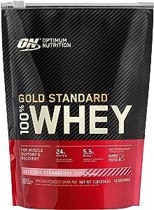 OPTIMUM NUTRITION GOLD STANDARD 100% Whey Protein Powder, Strawberry, 1 Pound