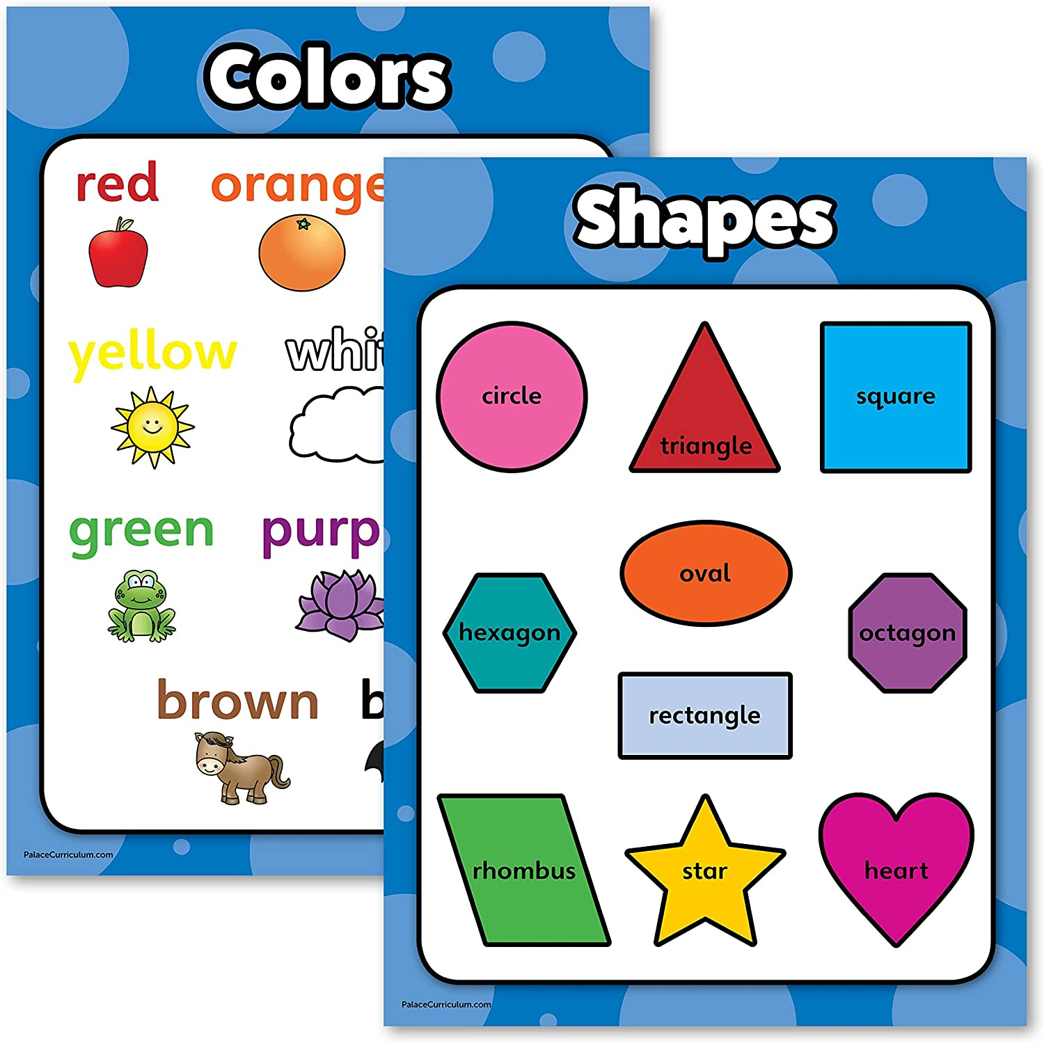 Shapes & Colors Poster Chart Set for Kids - LAMINATED - Double Sided (18x24)