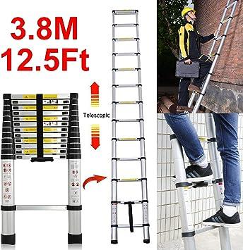 Escalera telescópica de 3,8 m, escalera compacta de aleación de aluminio, ligera, portátil, extensible, escalera multiusos EN131 150 kg de carga: Amazon.es: Bricolaje y herramientas