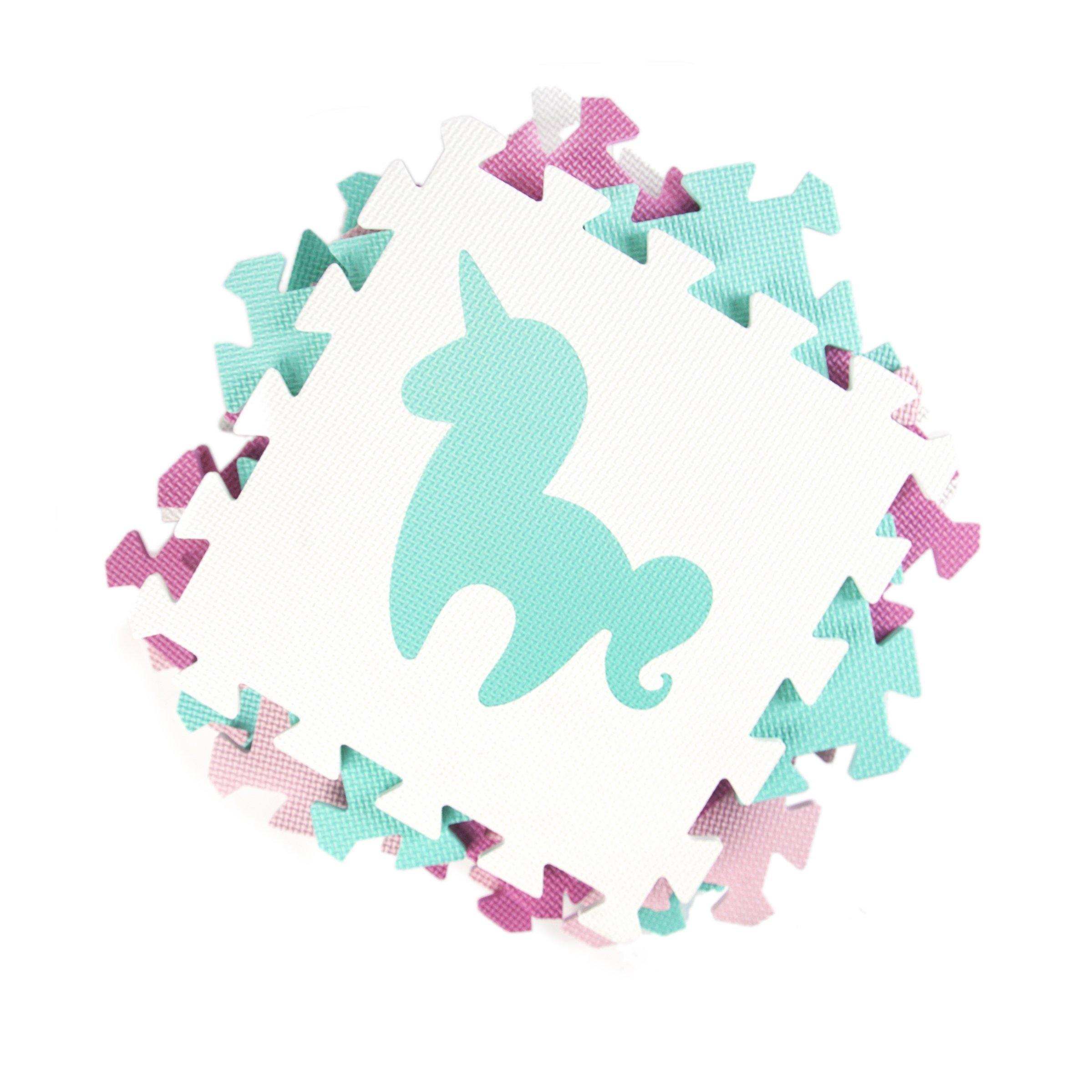 Tadpoles Soft EVA Foam 16pc Playmat Set, Unicorns and Rainbows, Pink, 50''x50'' by Tadpoles (Image #3)