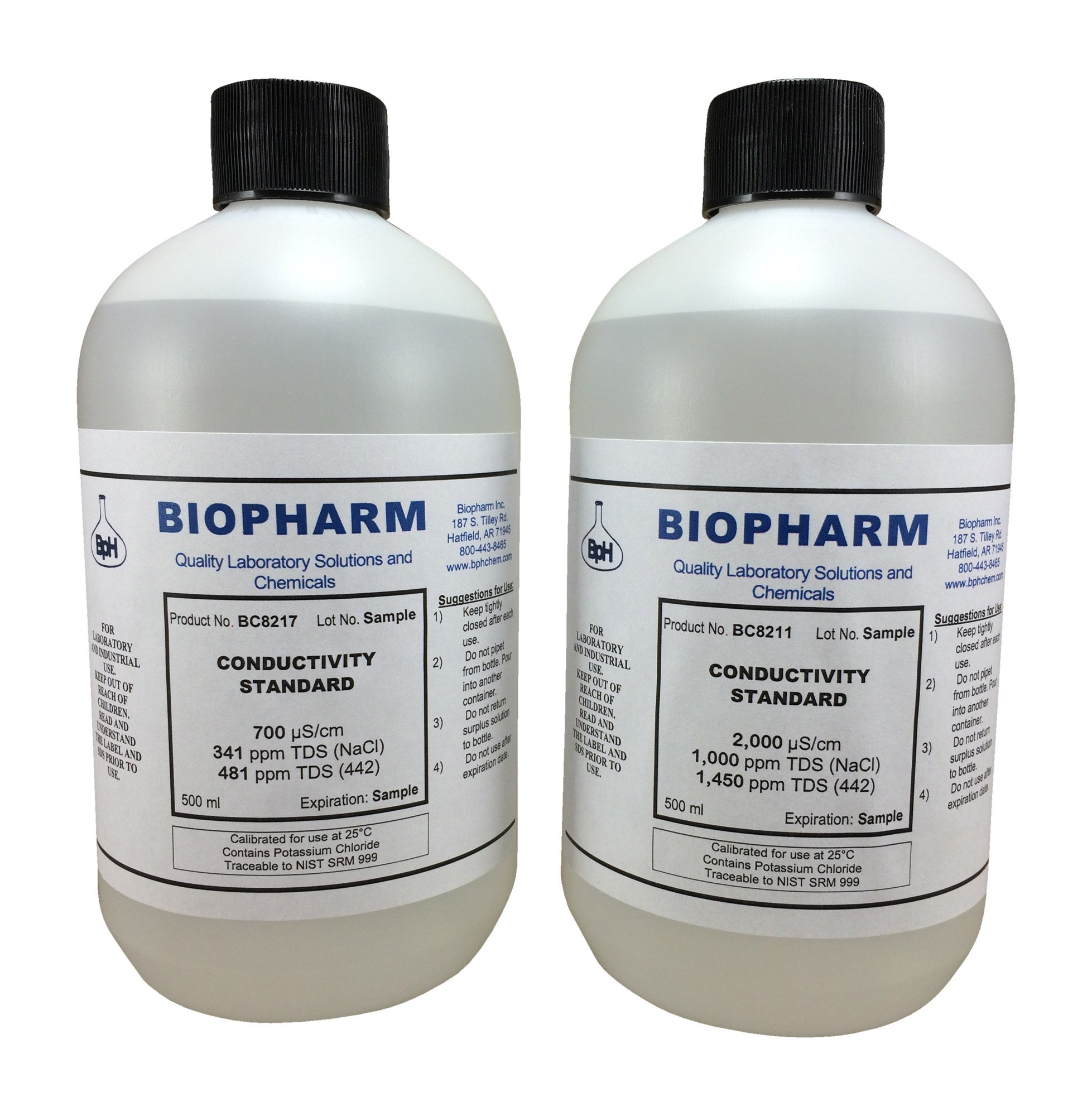 Conductivity Calibration Standard 2-Pack 500 ml each 700 uS and 2000 uS