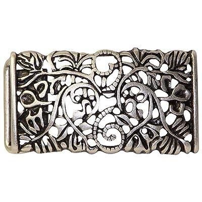 5c3e99b3e369 FRONHOFER Boucle de ceinture couleur argent vieilli pour femme, boucle à  motif floral, 3