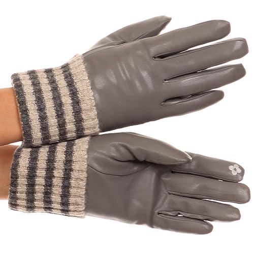 Guanti fino al polso compatibili per touch screen con polsino in lana a strisce invernale Sakkas Oda
