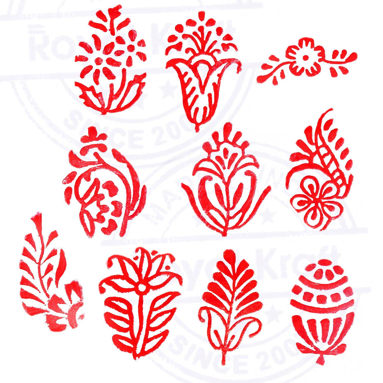 Argile Royal Kraft Feuille et Assorti Asiatique Pattern Bois Bloc Tampons Set de 10 pour Bricolage Henn/é Bloc de poterie Tissu Papier Textile
