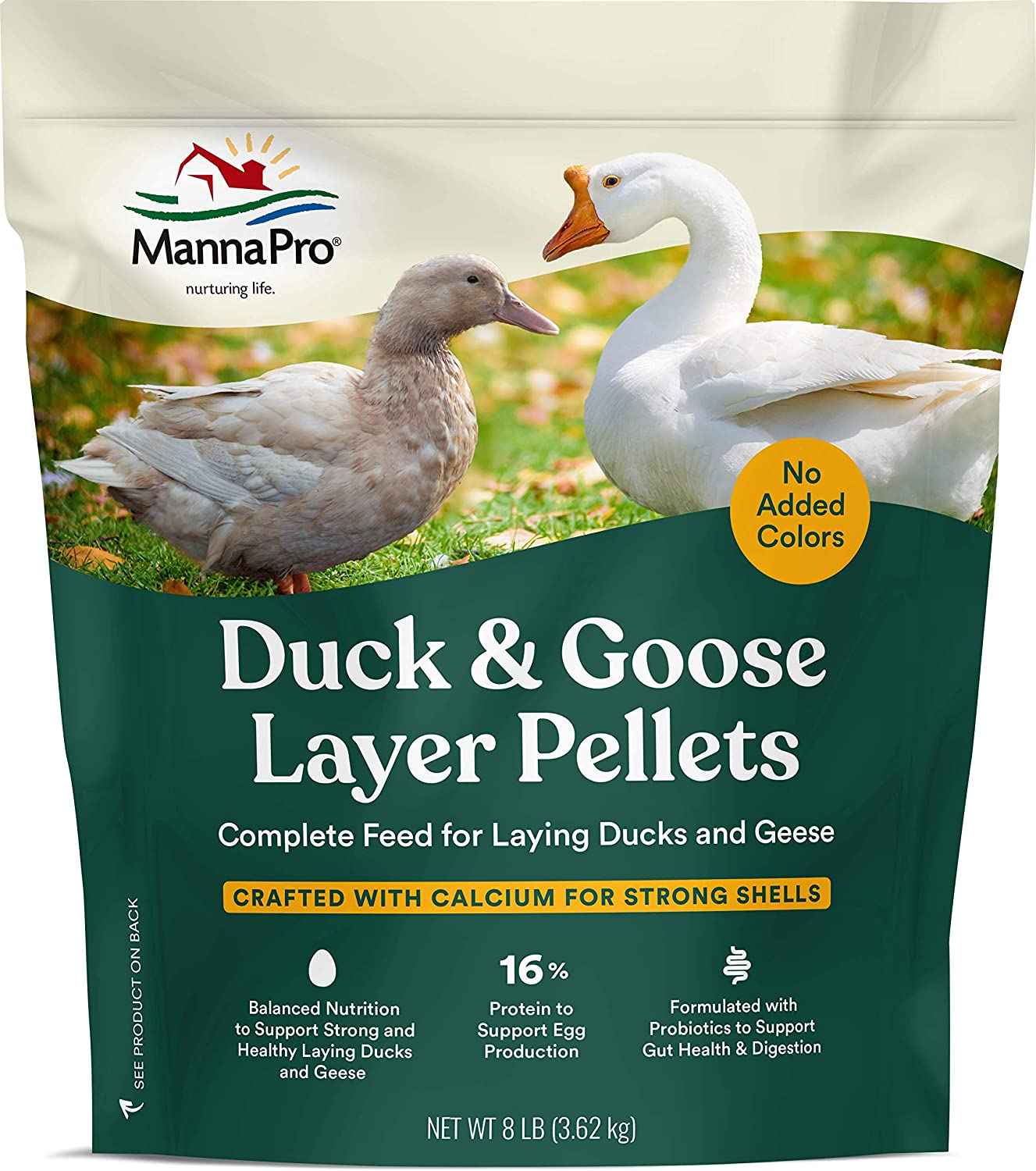 Manna Pro Duck Layer Pellet High Protein for Increased Egg Production Formulated with Probiotics to Support Healthy Digestion