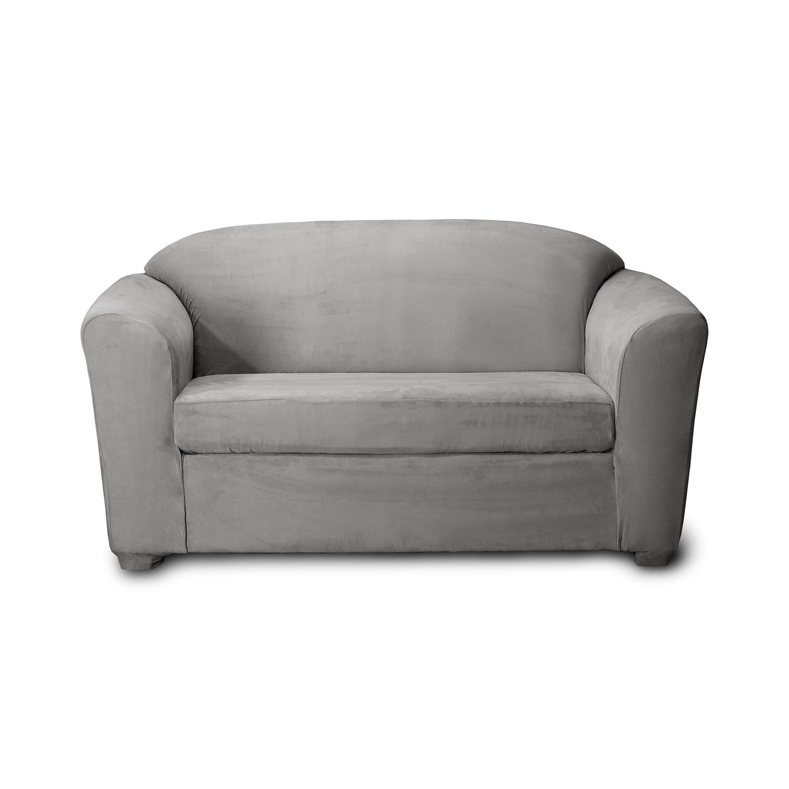 CoverWorks MADILOV2GREY1 Harper Stretch Loveseat Slipcover, Grey