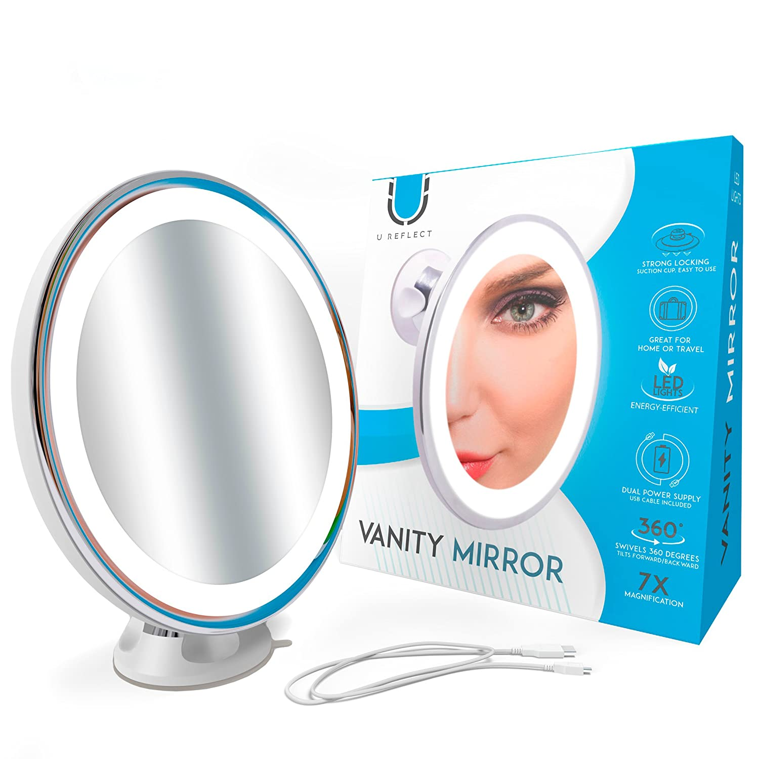 U Reflect Lighted Makeup Mirror, 7X Magnifying Vanity Mirror with LED Lights, Dual Power Supply with USB Cable Included, Great for Bathroom and Travel, Powerful Locking Suction Cup, Over 7 Inches Wide Westeez