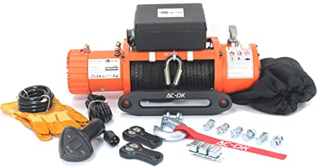 9500lbs with Steel Rope Winch Dust Cover and 2 Wireless Remotes AC-DK 9500lbs Electric Winch Water Proof IP67 Recovery Winch 12V DC Orange Color Come with Overload Protection