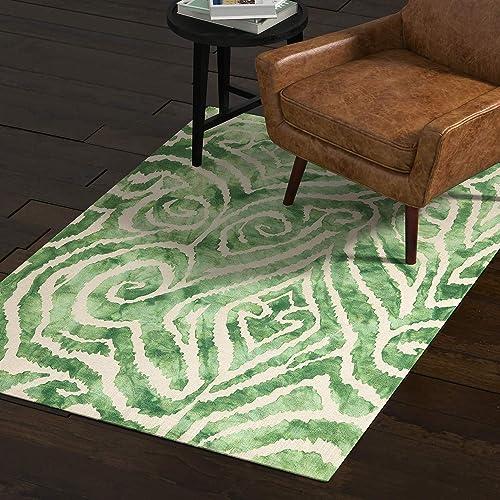 Rivet Modern Geometric Area Rug, 4 x 6 Foot, Green