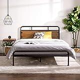 Zinus Santa Fe Metal and Wood Platform Bed with Pine Headboard and Footboard   Mattress Base Support Wooden Slat Black Steel