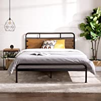 Zinus Santa Fe Metal and Wood Platform Bed with Pine Headboard and Footboard | Mattress Base Support Wooden Slat Black…
