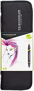 Prismacolor 1776354 Premier Double-Ended Art Markers, Fine and Brush Tip, 48-Count with Carrying Case
