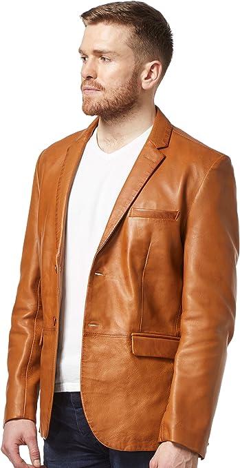 Men/'s 3450 Milano 2 button CLASSIC BLAZER BLACK NAPA designer Leather Jacket
