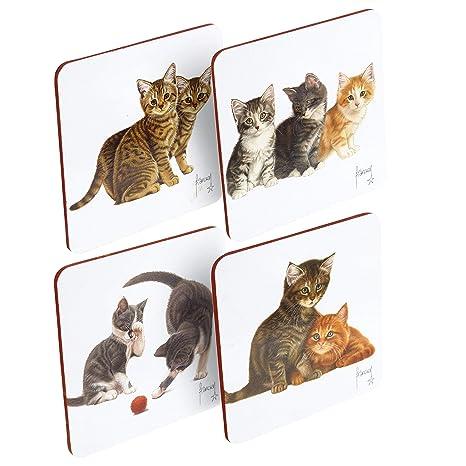 Posavasos laminados con base de corcho, diseño de gato holandés, 4 unidades