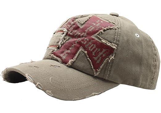 e334cf00165 Raon B24 Best Unisex Vintage Look Hat Cross Emblem Baseball Design Ball Cap  Truckers (Beige
