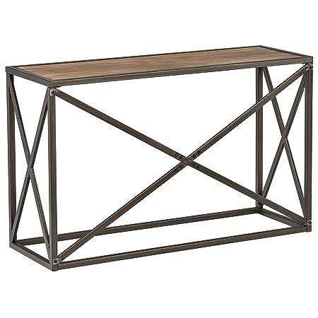 Stone Beam Roland Metal X-Frame Console Hallway Table, 24 W, Pine