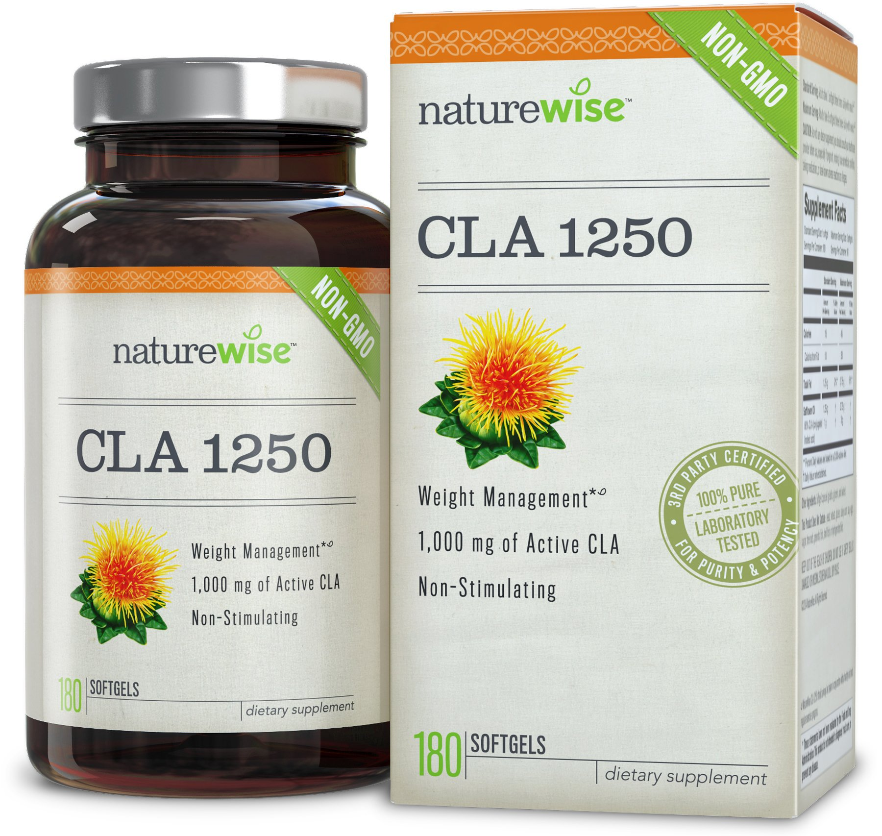 NatureWise CLA 1250, High Potency, Natural Weight Loss Exercise Enhancement, Increase Lean Muscle Mass, Non-Stimulating, Non-GMO 100% Safflower Oil, 180 count