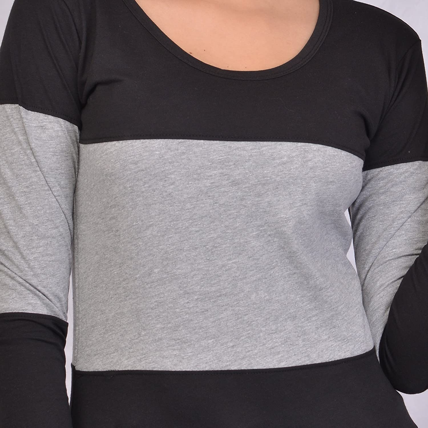 3b5f086213d Fubura Womens Cotton Casual T-Shirts Round Neck Sports Trim Full Sleeve  with Black Grey Colour  Amazon.in  Clothing   Accessories