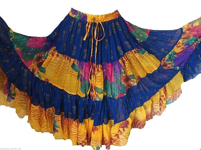 Gasa de 25 yardas gitana Falda bellydance, falda de danza tribal ...