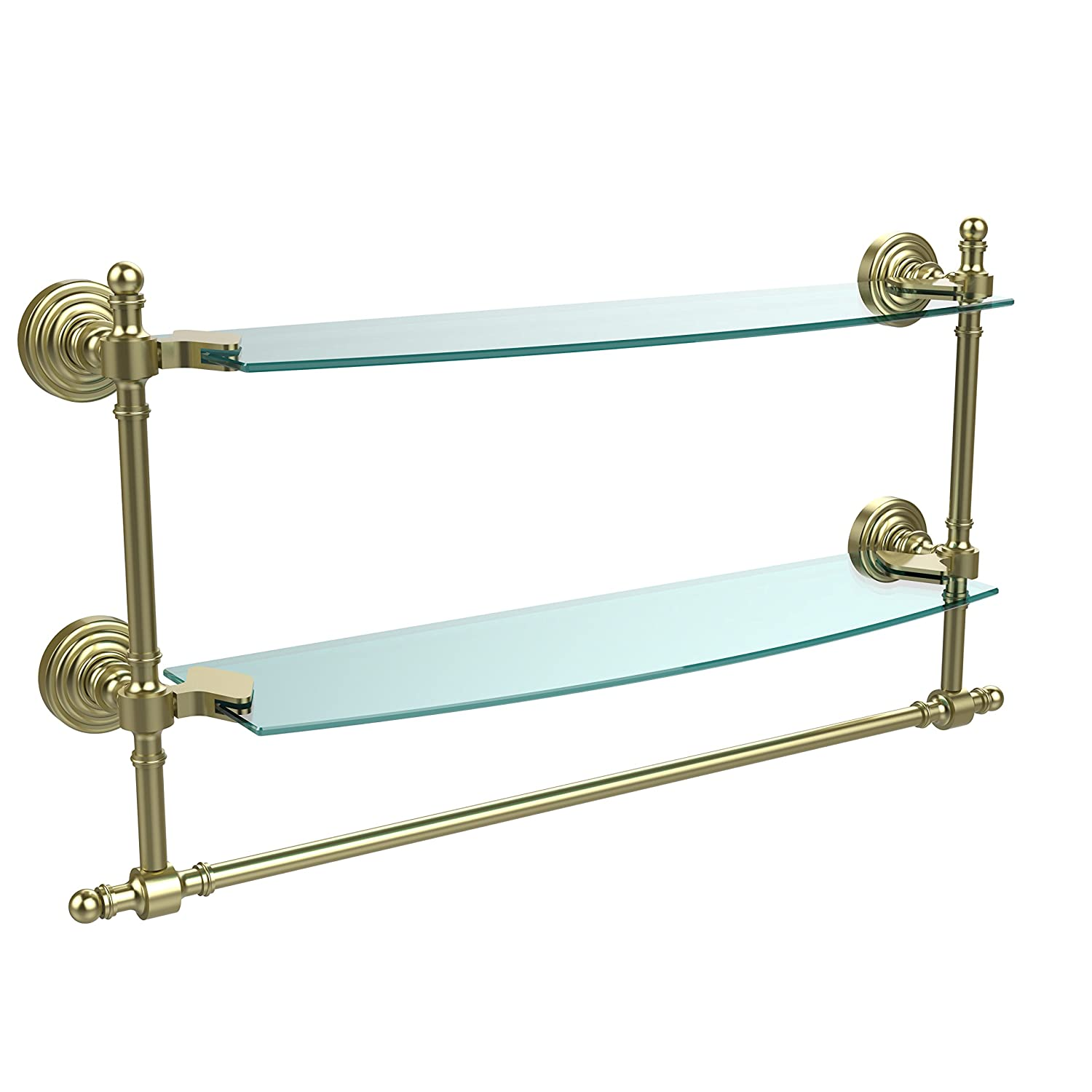 Allied Brass RW-34TB//24-BBR Retro Wave Collection 24 Inch Two Tiered Glass Shelf with Integrated Towel Bar Brushed Bronze