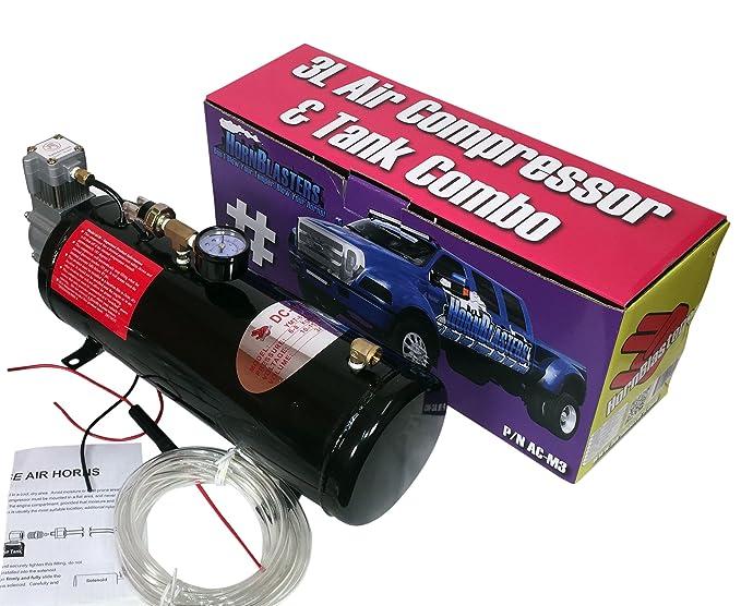 hornblasters Crazy Loud Pequeño y compacto 2 Trompeta spocker, 3 Trompeta Rhino, y 3 Liter aire Fuente Unidad Combo Air Horn Kit: Amazon.es: Coche y moto