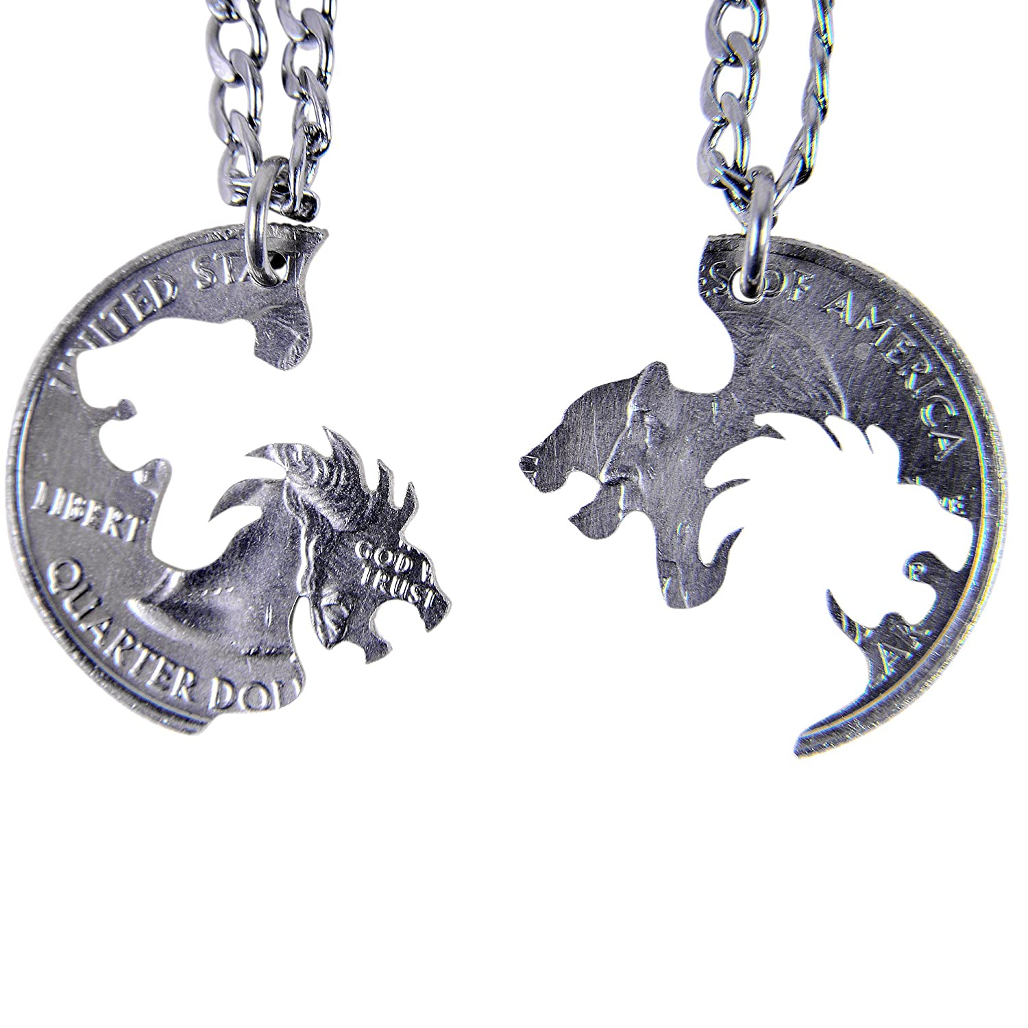Marycrafts Set Hand Cut Coin Lion and Lioness Interlocking Necklace Jewelry Relationship BFF
