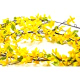 """CraftMore Forsythia Garland 70"""" with Yellow Artificial Flowers"""