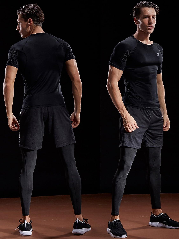 Neleus Mens Compression Baselayer Athletic Workout T Shirts
