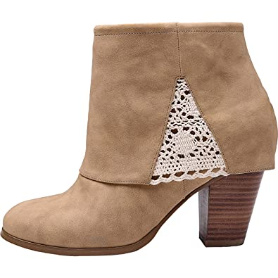 4111c58e0366 Luoika Women s Wide Width Ankle Boots - Chunky Block Heel Embroidery Flower  Stitching Booties.(