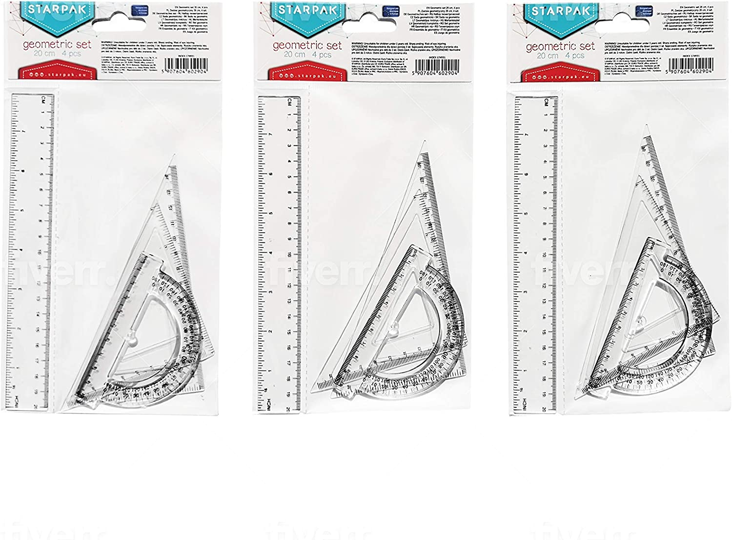 pack of 3 units. semicircle and technical drawing protractor cartabon consisting of ruler Set of rulers school rules square