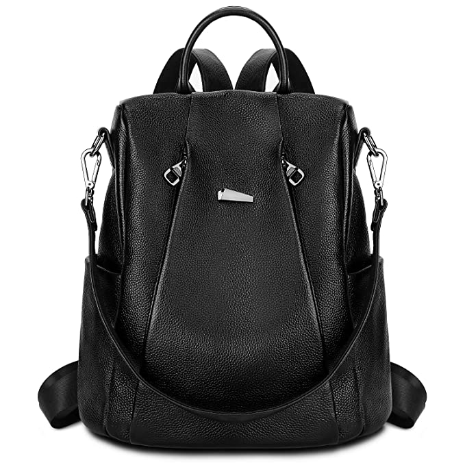 Gywon Women's Genuine Leather Backpack Daypack Crossbody Shoulder Bag Anti-theft Back Opening Black