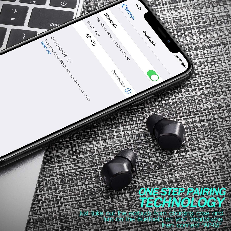 Arespark Écouteurs intra auriculaires sans fil Bluetooth 5.0 avec micro intégré et station de charge portable AP 05