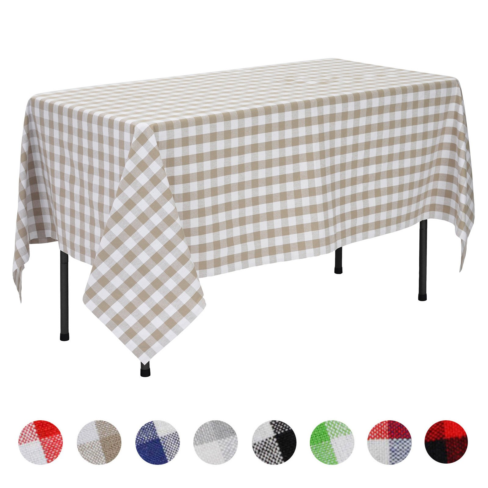 VEEYOO Rectangular Plaid Check Tablecloth Gingham 100% Cotton for Home Kitchen Party Indoor or Outdoor Use 60 x 84 inch (Seats 6 to 8 People), Tan & White