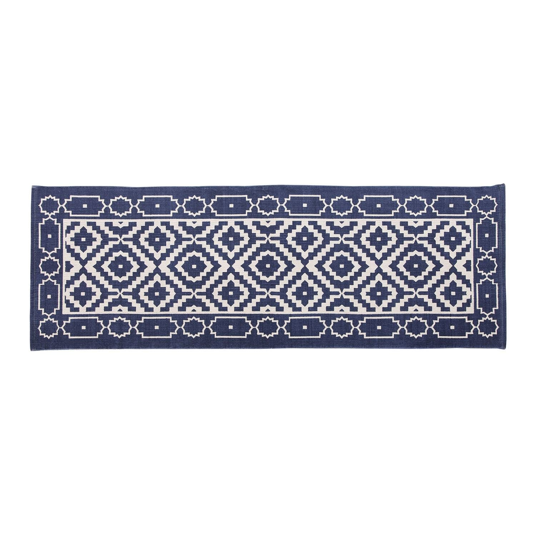 Tapis en Coton /à imprim/é g/éom/étrique Bleu Homescapes 66 x 200 cm Fabrication Artisanale Delphi
