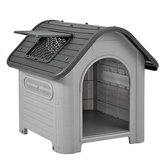 [en.casa] Caseta para perros de plástico - gris / negro - PVC - 87 x 72 x 75,5 cm: Amazon.es: Productos para mascotas