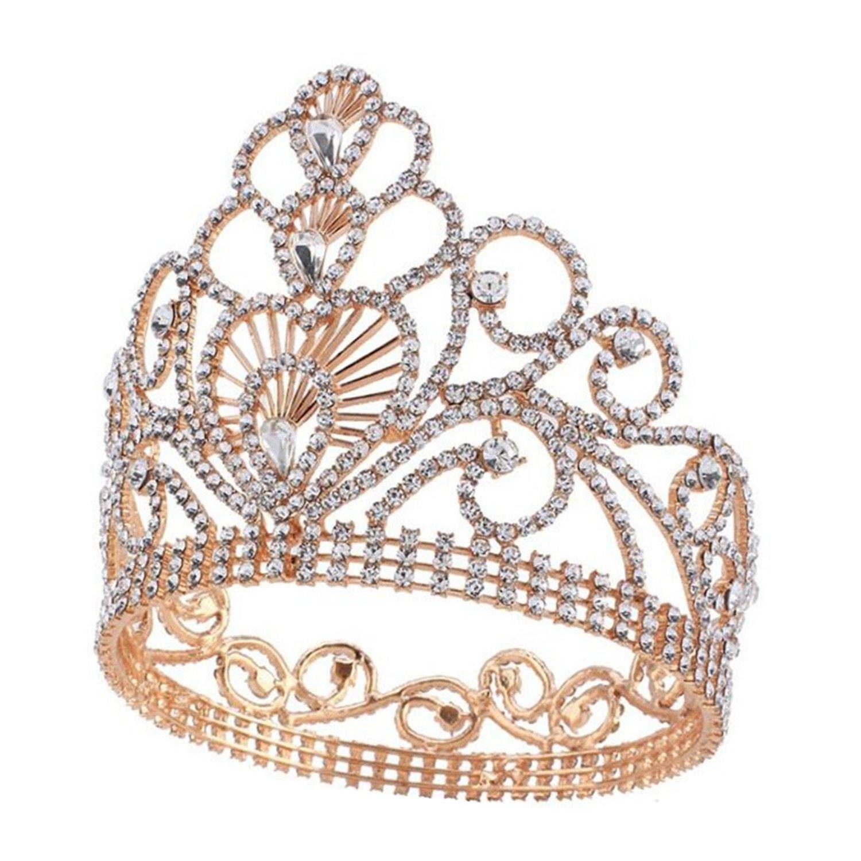 Wiipu 4.6'' High Round Royal Sparkly Rhinestones Tiaras Crowns,5.8'' Diameter(A1367) (Gold)