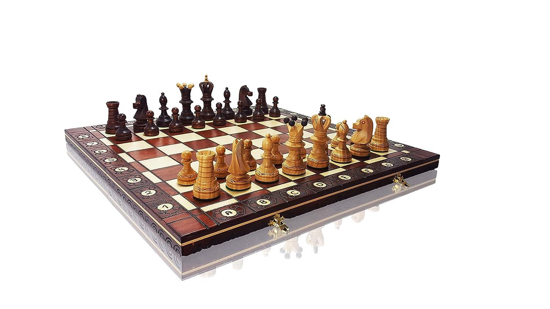 muchas sorpresas AmbasSADOR DE LUXE CHERRY - Juego de ajedrez de madera madera madera de alta calidad de 54 cm, hecho a uomoo  ganancia cero