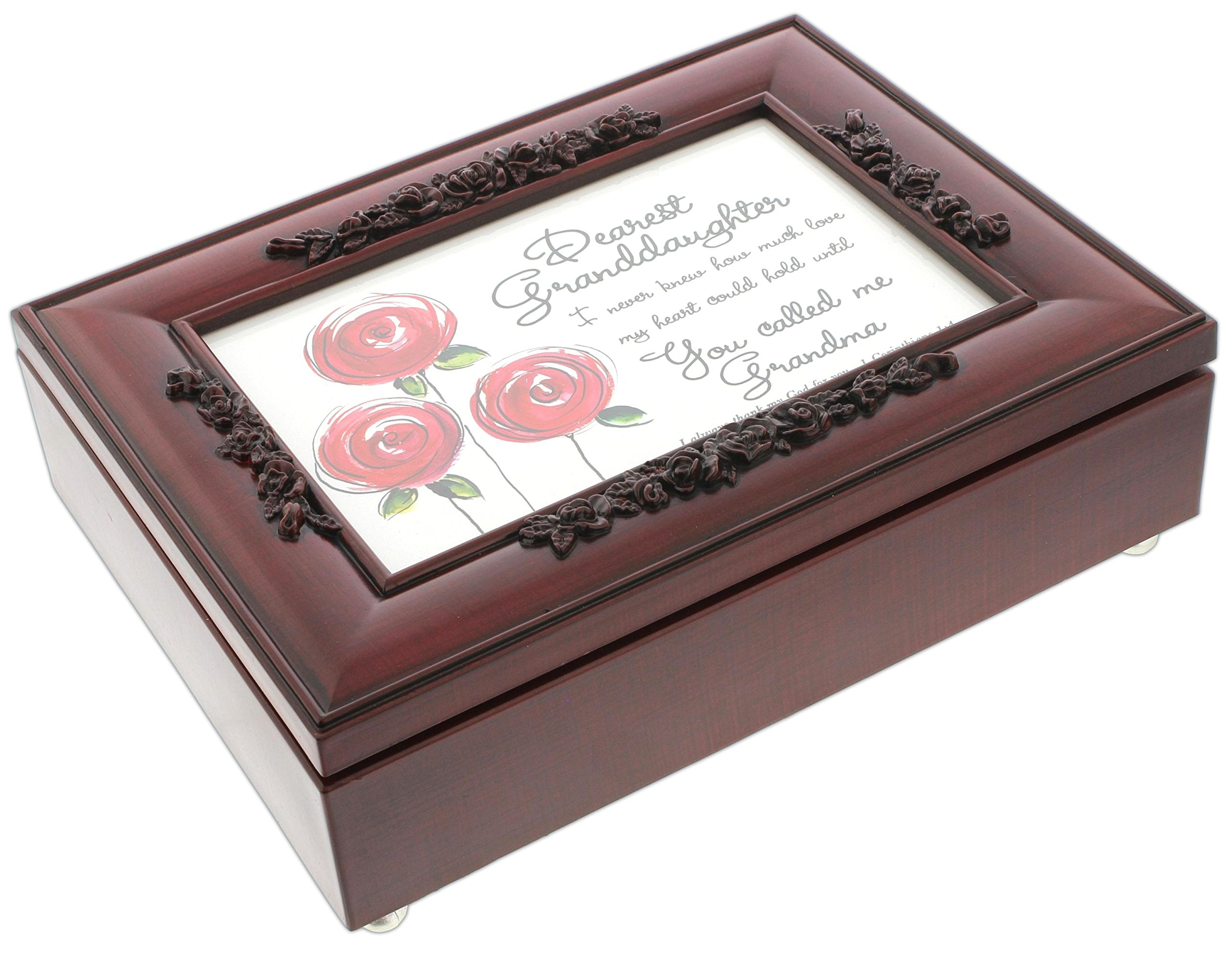 Cottage Garden Rosewood Music Box with Poem Insert ''You Light Up My Life'' (Granddaughter)