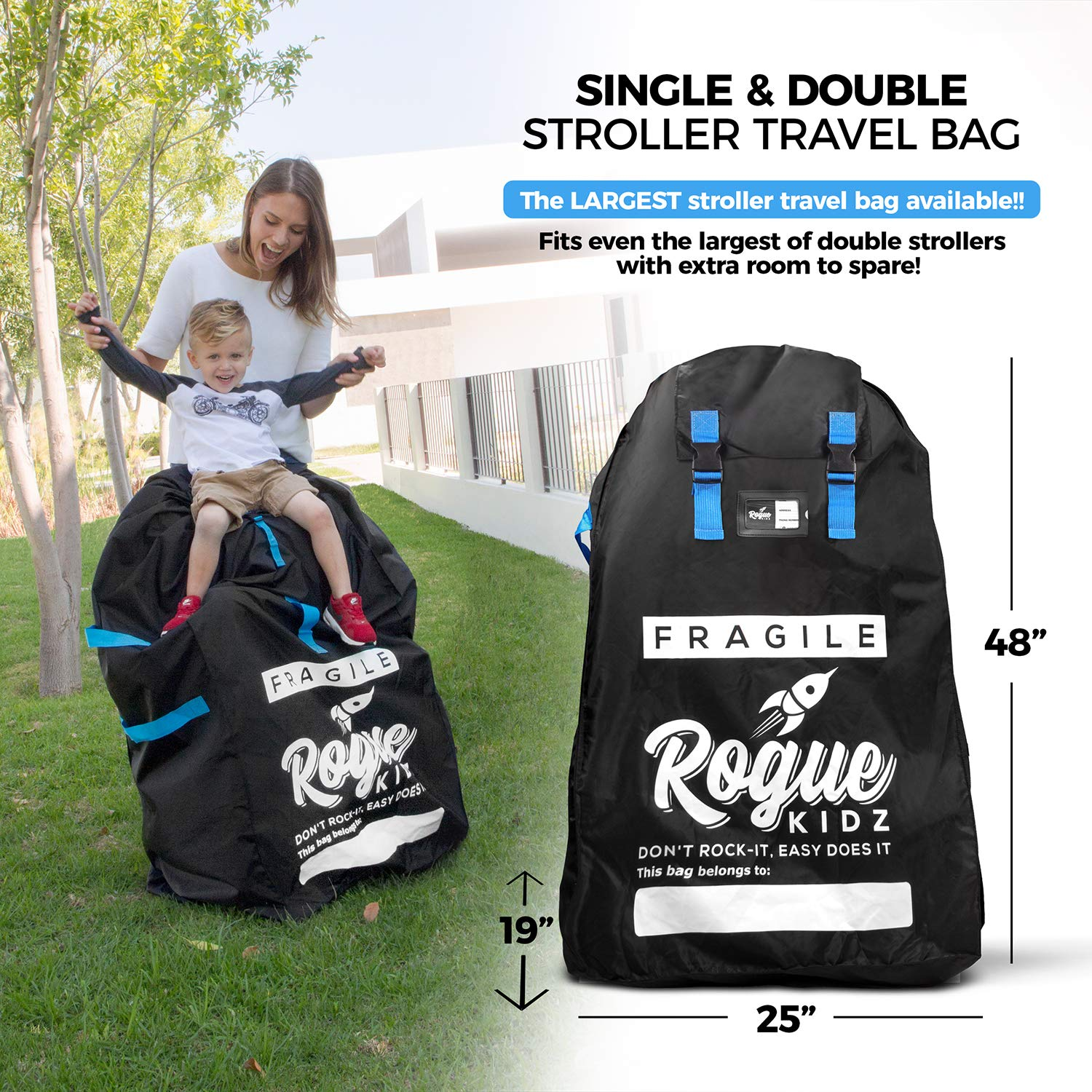 Rogue Kidz Single and Double Stroller Travel Bag For Airplane Gate Check - Durable Universal Large XL Cover With Padded Backpack Straps- Waterproof Heavy Duty Nylon Traveling Protector With Carry Case by Rogue Kidz (Image #2)