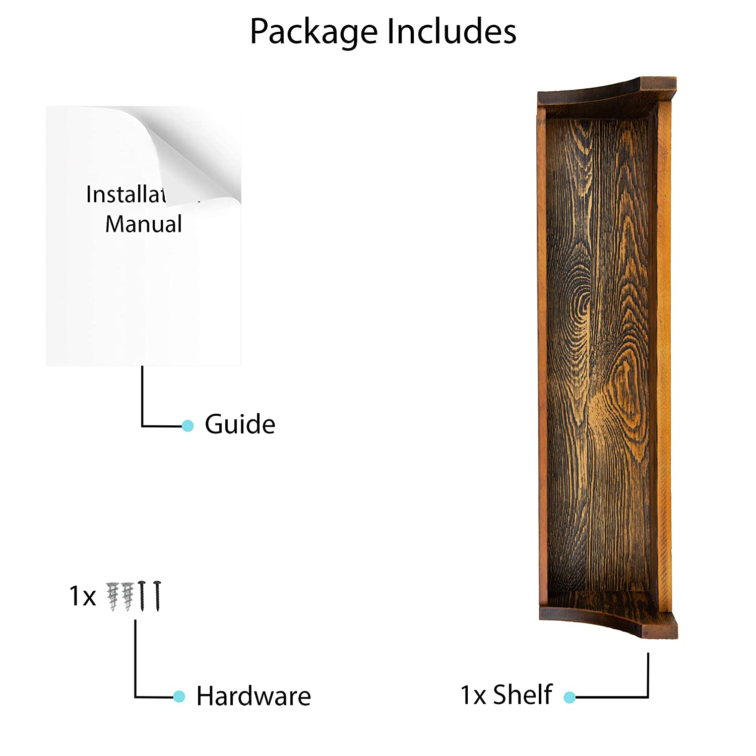 brightmaison Walnut Stained Rustic Wood Wall Shelf Weathered Handmade Reclaimed Style Wooden Multi Purpose Wall Rack Floating Shelf Dark Walnut Stained D/écor Display