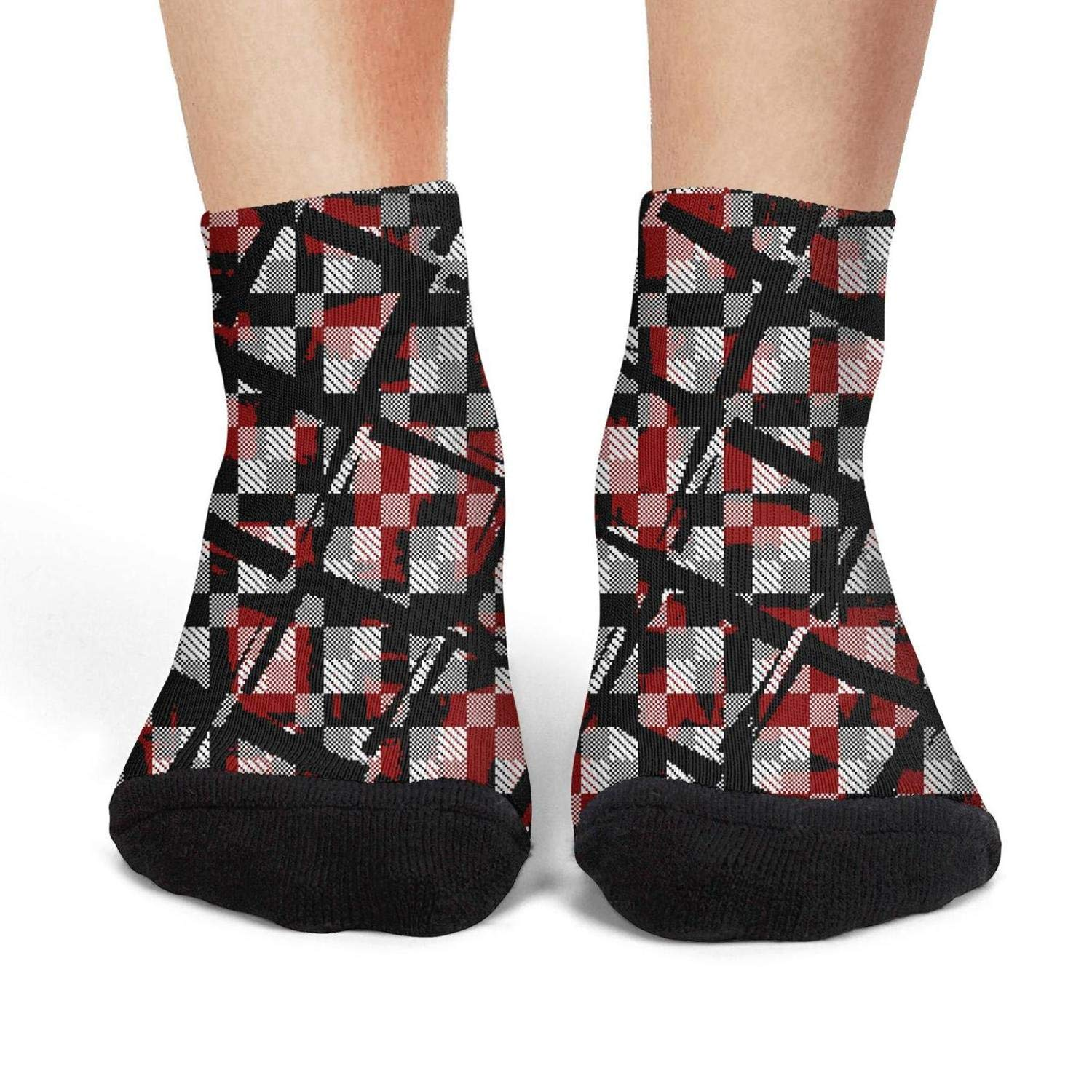 Mens low cut athletic Ankle sock geometric pattern design checkerboard Non-Slip Short Sock