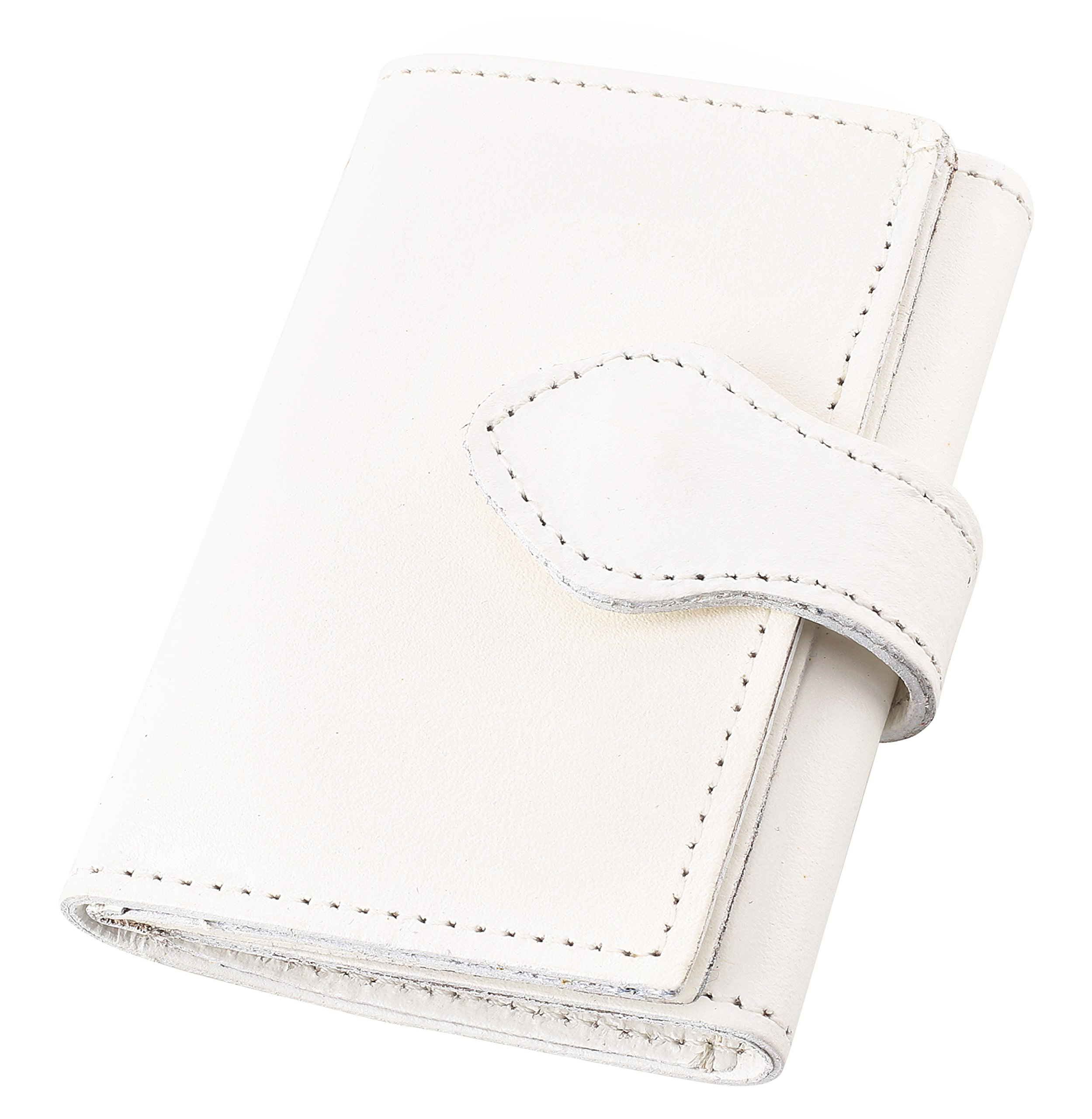 Women's Top Grain Leather Mini Tri-Fold Wallet, 16 credit card slots,Made in USA,WT374,WHITE