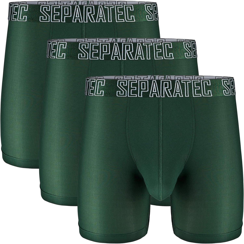 Separatec Boxer Aderenti da Uomo per Sport Intimo Sportivo ad Asciugatura Rapida in Tessuto a Rete con Tasca Separata Confezione da 2//3