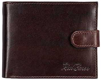 e6a3f5a941cb8 Red Baron Rotbraune Herren Geldbörse aus Leder mit Druckknopf-Verschluss  Querformat RB-WT-