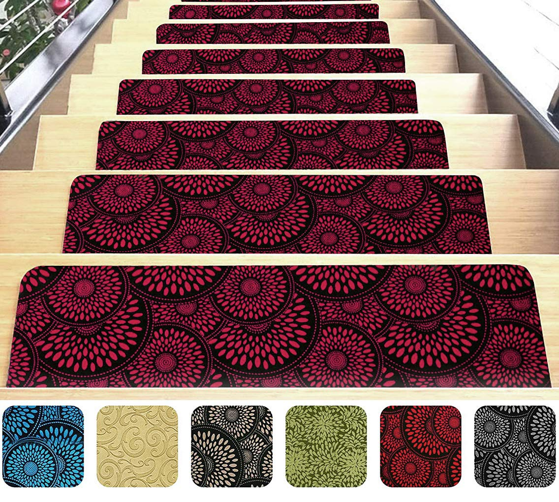 Indoor Stair Mats | Set of 7 | Red 9''x26'' | Ultra-Thin Microfiber Stair Carpet with Slip-Resistant Rubber Backing | Washing Machine Safe | Quick and Easy to Install | Premium Quality by Shape28