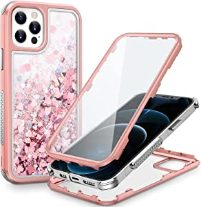 Caka iPhone 12 Pro Max Case, iPhone 12 Pro Max Glitter Case for Women Girls with Built-in Screen Protector Full Body Liquid Sparkle Bling Protective Heavy Duty Case for iPhone 12 Pro Max (Rose Gold)