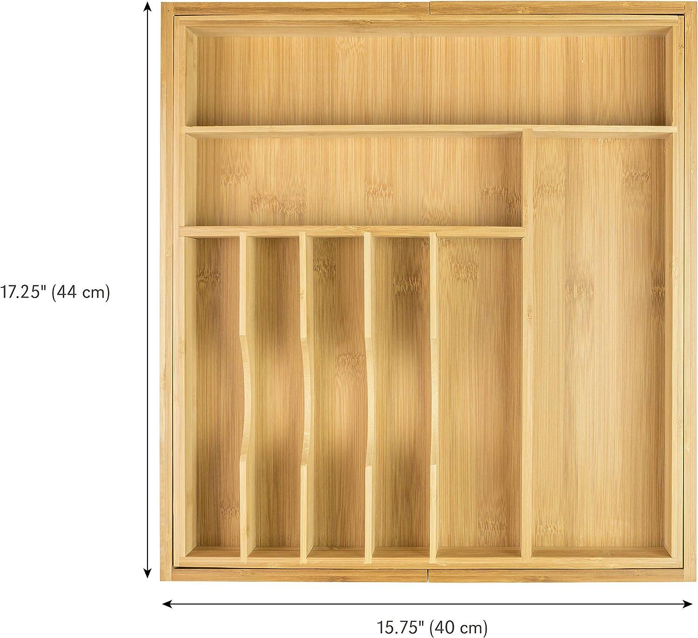 posate e utensili organizer si allunga fino a 71,1/cm di larghezza 10/scomparti Kitchenedge bamb/ù cassetto della cucina