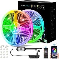 SUNOVO 10M LED Strip Light, Kleur veranderende LED Strip Light met IR-afstandsbediening en Bluetooth-bediening, 2…